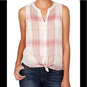 NWT $70 Lucky Brand Women Rose Plaid Tie Front